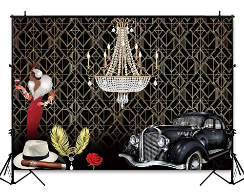 Funnytree 7x5ft Roaring 20's Themed Party Backdrop The Great Gatsby Flapper Adult Birthday Background Gangster Vintage 20s Decor Wedding Decoration Photo Booth Cake Table Banner ()
