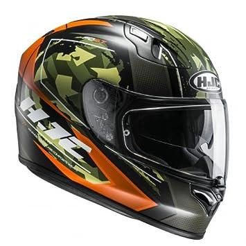 HJC Cascos de motocicleta, negro/naranja/verde, talla XS