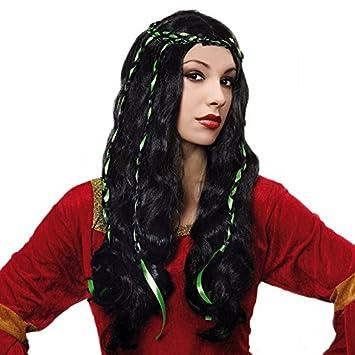 Peluca morena de Dama Medieval Accesorio de Halloween