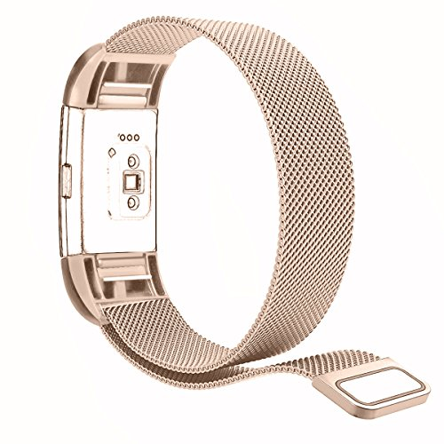 "Tecson Fitbit Charge 2 Bands, Stainless Steel Metal Milanese Bracelet Strap Replacement Wrist Band with Magnet Lock for Fitbit Charge 2 (Small5.5-8.7"", Champagne Gold)"