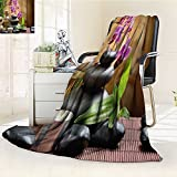 YOYI-HOME Luxury Warm Fuzzy Weighted Bed Duplex Printed Blanket Spa Warm Welcoming Spa Reception Big Stones Candles Scent Flowers Print Purple Black and Green Camping Blanket /W86.5 x H59