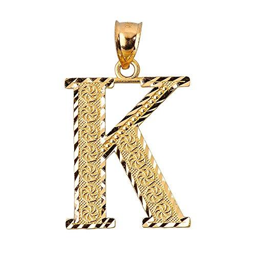10 ct 471/1000 Initiale K Or Pendentif