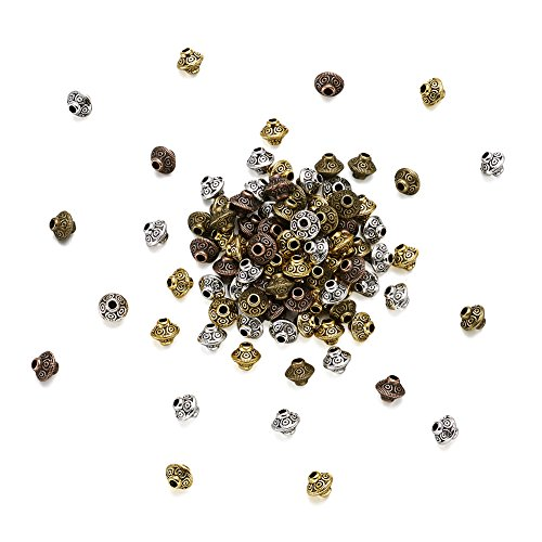 Kissitty About 320pcs/bag Tibetan Mixed Color Bicone Beads 6.5x7.5mm Cadmium Free & Nickel Free & Lead Free 1mm Hole Saucer Spacers