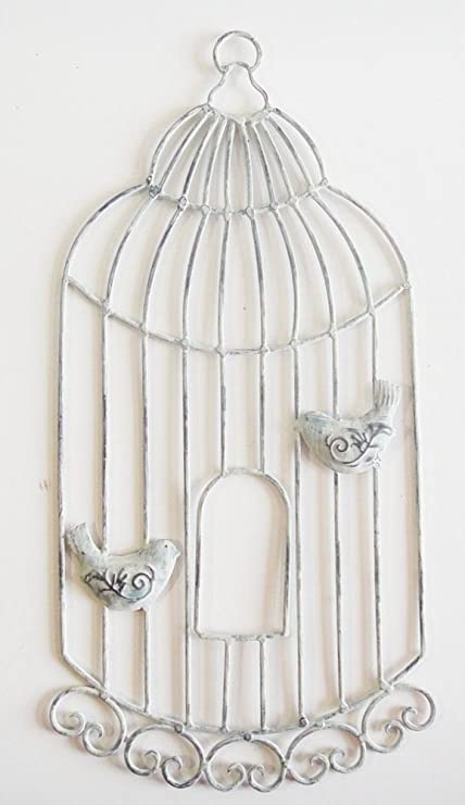 Wall Art - Metal Wall Art - Shabby Chic Birdcage With Birds: Amazon ...