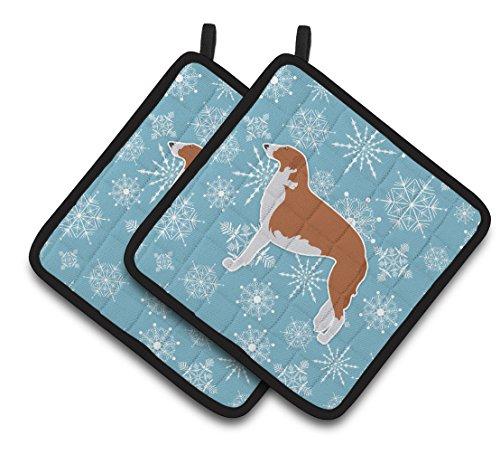 Caroline's Treasures Winter Snowflake Borzoi Russian Greyhound Pair of Pot Holders BB3499PTHD, 7.5HX7.5W, Multicolor