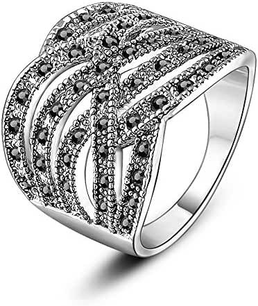 Mytys Wide Twist Black Marcasite Wide Band Cocktail Rings