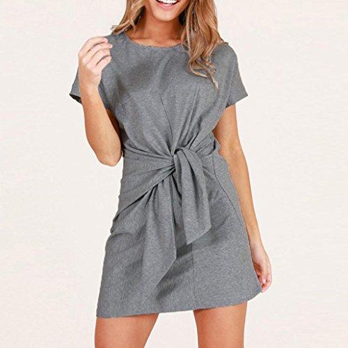 5d645a27000 New Chic Femmes O Mode Manches neck Courtes Bandage Slim Gris De Robe  Soirée Plage Grande ...