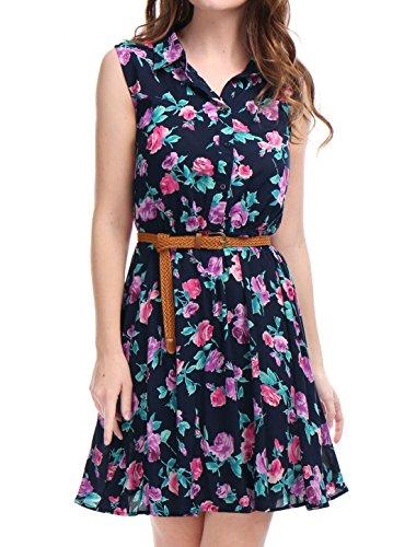 Allegra K Women's Floral Prints Sleeveless Belted Shirt Dress S Navy Blue