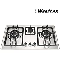 Windmax New 28 inch Stainless Steel 3 Burners Built-In Stove NG Gas Cooktop Cooker