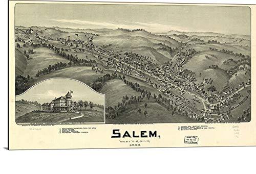 (Cutler Miles Salem West Virginia 1899 Map Print on Wood)