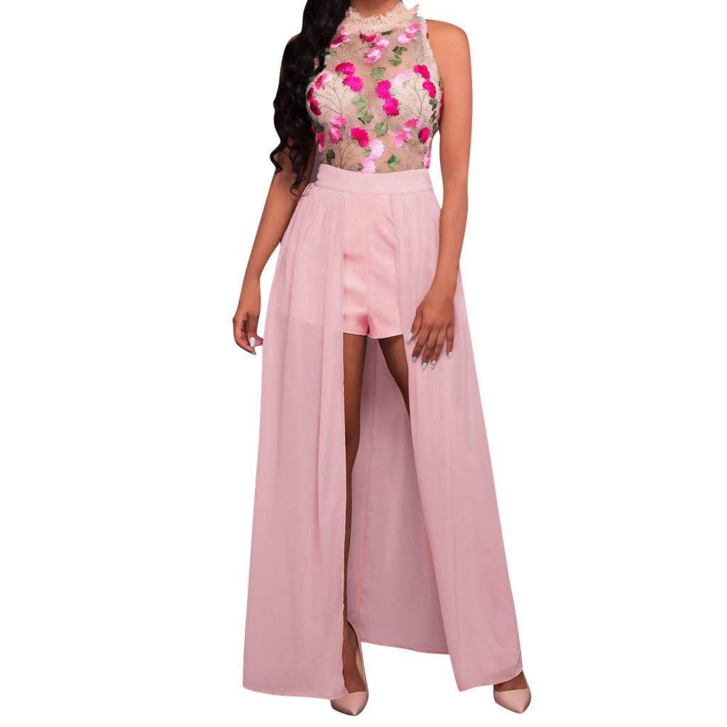 ❤️❤️ Women's Halter Neck Floral Print See Throught Split Beach Lace Romper Short Sleeve Party Maxi Dress Pink
