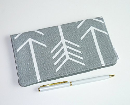 Metallic Checkbook Wallet - Checkbook Cover. Wallet. Receipt Holder - Large Arrows on Grey