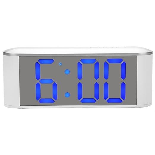 Reloj de mesa digital, superficie de espejo LED moderno Termómetro ...