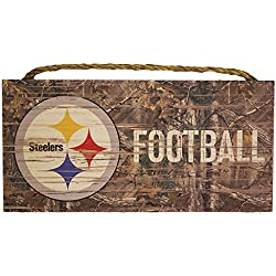 Pittsburgh Steelers NFL Team Logo Garage Home Office Room Camo Wood Sign with Hanging Rope - Realtree Camouflage Football