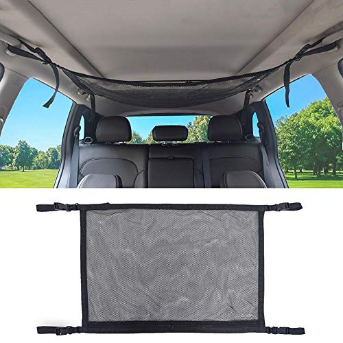 benefit-X Car Storage Net Double-Layer Mesh Surface Adjustable Organizer Pouch Bag Breathable Mesh Zipper Storage Mesh Net with 4 Snaps Universal Rear Car Organizer Net ()