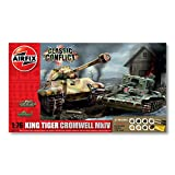 Airfix King Tiger Tank and Cromwell Tank Classic Conflict Gift Set 1:76 Scale Tank Plastic Model Kits with Paints A50142