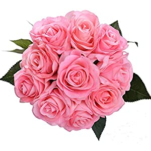 IPOPU Artificial Flowers, Silk Moisturizing Real Touch Rose Fake Flower with Green Leaves Wedding Bouquet for Home,Office, Party,Wedding Decoration and Festival Gift 12 Pcs 4