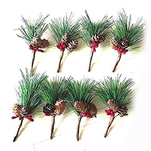 IDOXE Artificial Pine Picks Christmas Pine Needles Red Berries Shatterproof Ball Ornaments Jingle Bells Pine Cones for Christmas Flower Arrangements and Holiday Decorations 8Pack]()