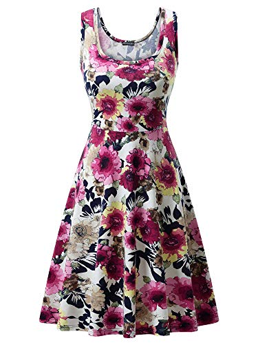 FENSACE Women's Sleeveless A line Waistline Midi Dress Casual Flared Tank Dress (Large, Floral-20)