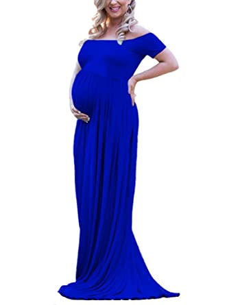 87fabc6b30581 Maternity Off The Shoulder Maxi Gown Short Sleeve Baby Shower Dress for Photo  Shoot (L