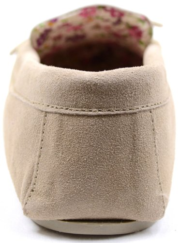 Sole with 3 Hard Size Ladies Moccasin Slippers Suede Cotton Tan Lined wx8nqORHp
