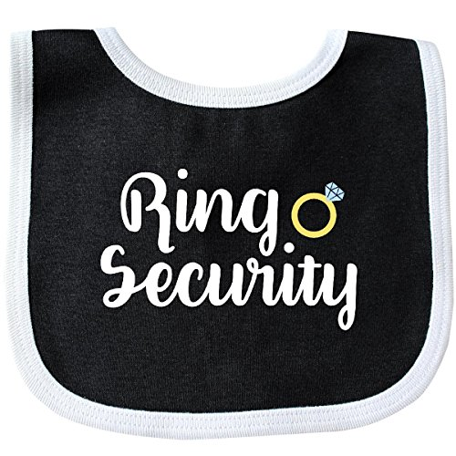 Inktastic - Ringbearer Ring Security White Text Baby Bib Black/White 28b11 -