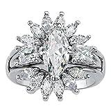 Palm Beach Jewelry Platinum-Plated Marquise Cut Cubic Zirconia Starburst Jacket Bridal Ring Set Size 9