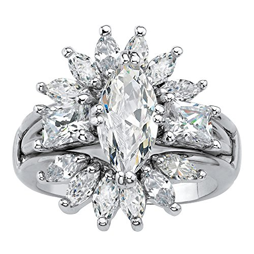Palm Beach Jewelry Platinum-Plated Marquise Cut Cubic Zirconia Starburst Jacket Bridal Ring Set Size 7