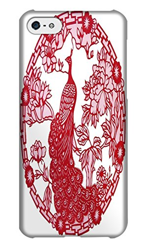 Tblike Cases / Covers Chinese Red Paper-cut Peacock in Sea for Iphone 5c. (Skull Cover Volt Lg)