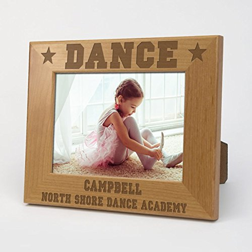 Dance Personalized Wood Picture Frame with easel, measures 6 1/2 x 8 1/2 and holds a 4''x 6'' picture