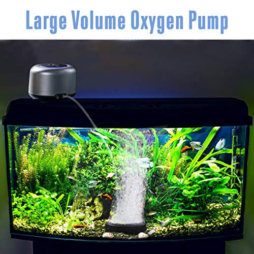 AQQA Air Pump for Aquariums,Fashion Ultra-Quiet Energy-Saving Oxygen Pump Adjustable 4 Flow Rate Grades,Powerful Dual Outlets,Freshwater and Marine Fish Tank (5W (up to 300 Gallon), Silver)