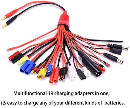 YUNIQUE ESPANA 19-en-1 Banana Lipo Charger Adapter Cable IMAX / B6 / B6AC / TRX/JST/FUTABA/T-Plug / XT60 / EC3 / EC5 / HXT4MM / Tamiya/Traxxas para RC ...