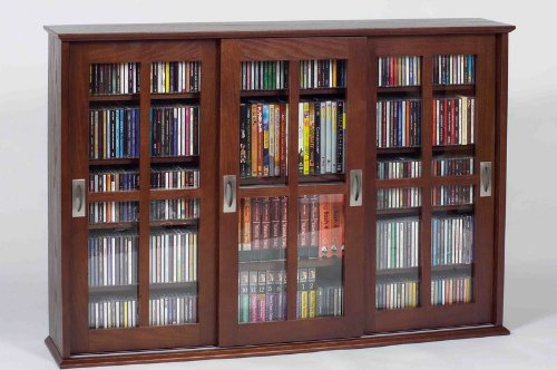 Leslie Dame MS-525W Wall Mounted Sliding Door Mission Style Media Storage Cabinet, Walnut