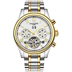 Topwatch® Sangdo Men's Tourbillon Automatic Mechanical whilte Dial Silver-Gold Stainless Steel Watch