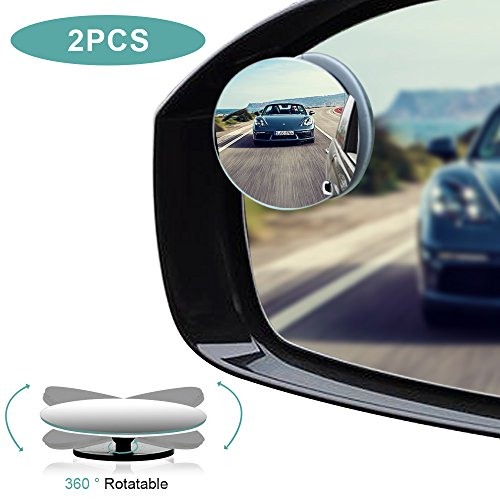 Blind Spot Mirrors, HD Glass Convex Rear View Mirror with Adjustable Wide Angle Driver Side Mirror And Passenger Side Mirrors for All Car Mirrors, Pack of 2 (Side Mirror Driver View)