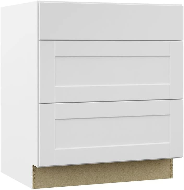 Amazon Com Hampton Bay Shaker Assembled 30x34 5x24 In Pots And Pans Drawer Base Kitchen Cabinet In Satin White Kitchen Dining