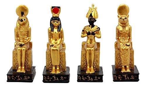 (Ebros Gift Egyptian Gods Horus Osiris Sekhmet And Isis Seated On Thrones Figurine Set of 4 Decorative Miniatures 3.75