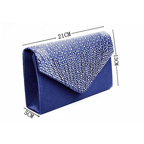 Blue Handbag Bags for Rhinestone Womens Bridal Clutch Weddings Evening Purse nxSgTz7q