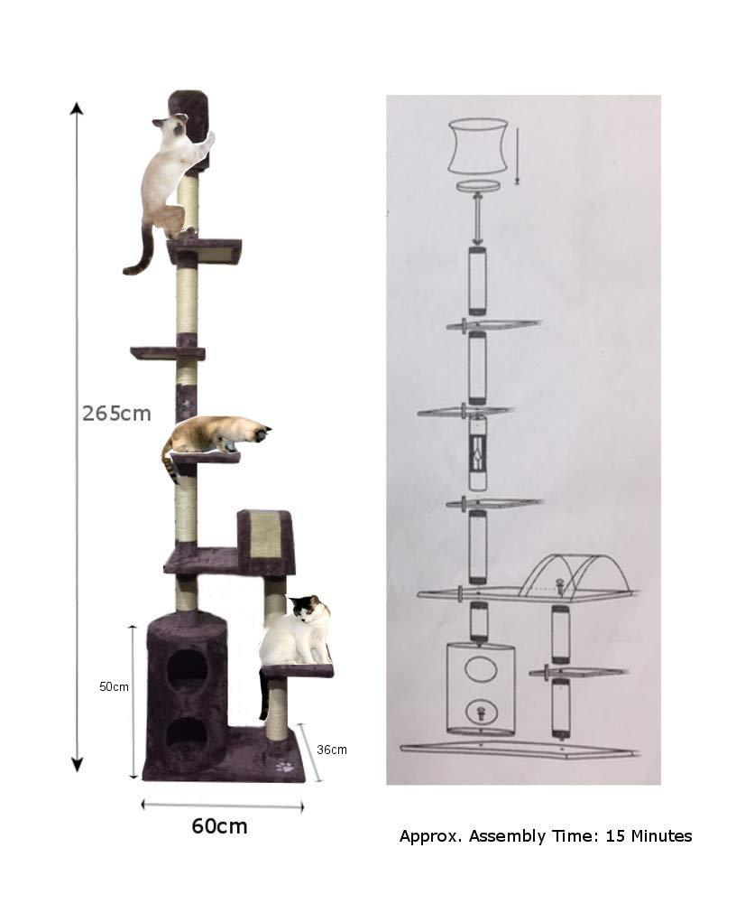 LETTUCE EAT® 265 cm   8.5 ft (approx) 5 platform 7 Sisal Poles Cat Kitten Activity Play Tower Sisal Scratch Post (ys130764)