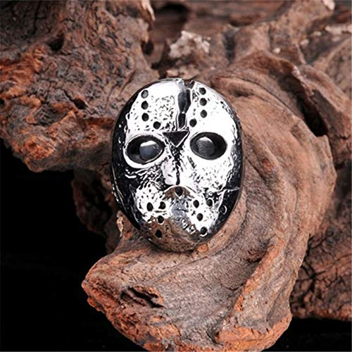 ink2055 Punk Rock Rings for Men Jason Hockey Mask Horror Skull Finger Ring Finger Jewelry Gift - Antique Silver US 7 by ink2055 (Image #3)