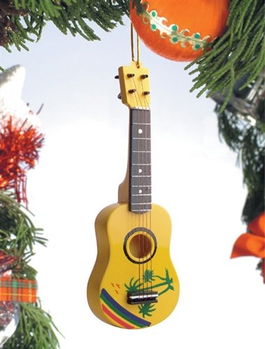 Tropical Design Ukulele Music Instrument Replica Christmas Ornament, Size 5 inch