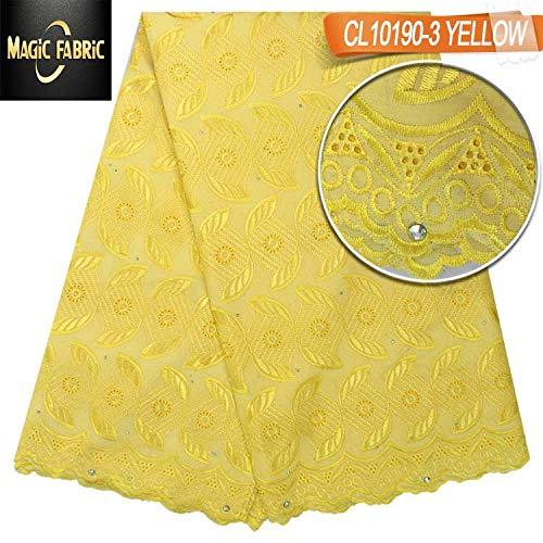 Laliva Swiss Voile lace Cotton Fabric African Lace Fabric with Stones for Dress Wedding CL10190 - (Color: Yellow)