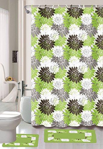 Ring 15 Green Hunter - 15-piece Erica Bathroom Set Bath Rugs Shower Curtain & Rings - Sage
