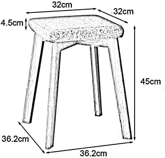 BXZ Stuhl Massivholz Hocker mit Baumwolle Leinen Kissen , Quadratisch, stapelbar, für Esszimmer Roon Schlafzimmer Wohnzimmer Küche, 2er Pack,Holzfarbe Holzfarbe