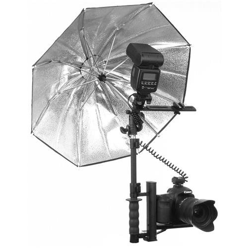 Alzo Flip Flash Bracket Umbrella Kit with H-Bar (Black)- for All Dslrs