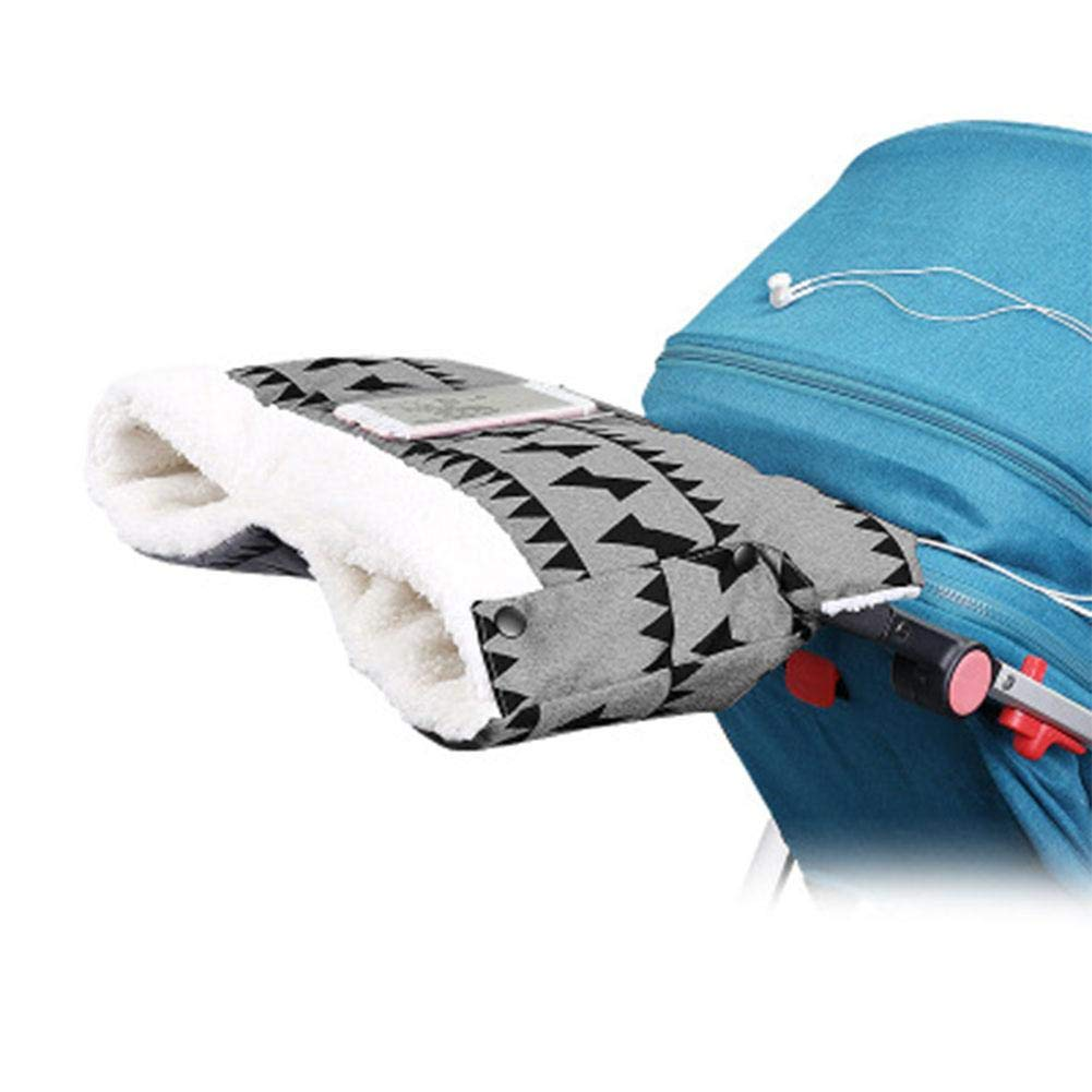 and Winter Windproof Plush Baby Stroller Antifreeze Hand Cover Plus Velvet Thickening Hand Muff Nicemeet Outdoor Baby Stroller Warm Gloves