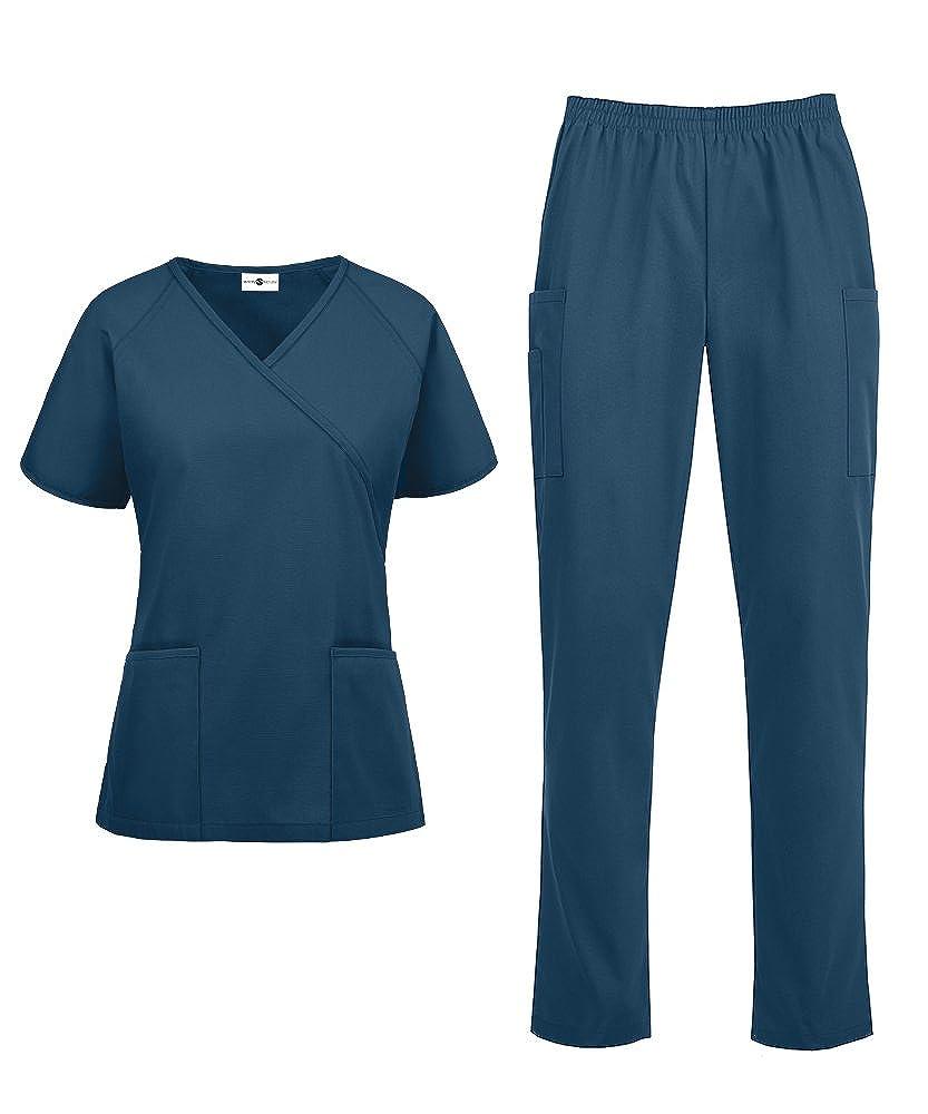 Caribbean bluee Women's Medical Uniform Scrub Set  Includes Mock Wrap Top and Elastic Pant (XS3X, 14 colors)