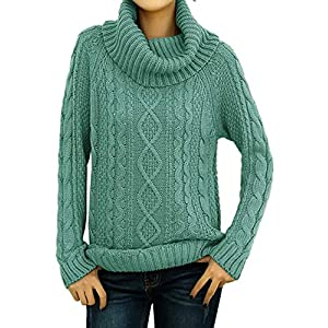 v28 Women's Pure Cotton Korean Turtle Cowl Neck Ribbed Cable Knit Long Sweater