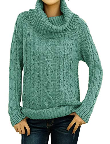 v28 Women's Korean Design Turtle Cowl Neck Ribbed Cable Knit Long Sweater Jumper (Jadeblue, Medium) - Jade Ribbed Sweater
