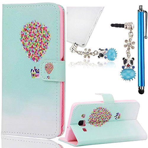 Eternity Cover (Sunroyal Samsung Galaxy A3 SM-A300F Bling Slim Leather Phone Case, Eternity Luxury Diamond Cover Soft Thin TPU Bumper Silicone Back with Bear Anti-dust Plug and Blue Touch Pen, Hot Ballon Pattern)